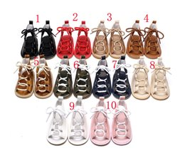 Discount tied shoes - 10 color New PU Rome sandals baby shoes Rubber sole Sandals Baby First Walkers free shipping