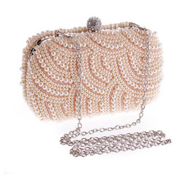 casual side bag 2019 - TenTop-A Two Sided Beaded Fashion Exquisite Beaded Bridal Hand Bags Noble Elegant Pearl Clutches Bags Shoulder Party Bag