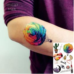 $enCountryForm.capitalKeyWord Canada - W11 Colorful Rose Hot-Air Balloon Temporary Tattoo with Big Lip, Crystal, Lipstick,Avocado and Cactus PatternTattoos