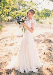 $enCountryForm.capitalKeyWord NZ - A-Line Chiffon Lace Beach Modest Wedding Dresses Short Sleeves V Neck Cheap Simple Spring Garden Wedding Party Informal Bridal Gowns