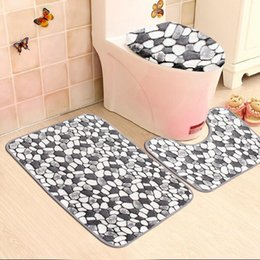 Wholesale 3PCS Non Slip Washable Floor Carpet Bath Mat Pedestal Toilet Rug  Kits Coral Velvet Pebble Pattern Bathroom Mats Rugs Set