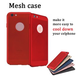 Wholesale ultra thin hard pc grid case mesh breathable back cover shockproof drop proof hollow porous mobile protector for iphone plus iphone x