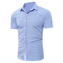 $enCountryForm.capitalKeyWord Canada - 2017 Summer Men Short Sleeve Striped Shirt Slim Fit Mens Dress Shirts Solid Color No Pocket Casual Man Work Wear Shirts