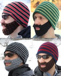1a7e199b1b6 Novelty Warm Winter Striped Knit Ski Face Mask Beanie Crochet Beard Hats  for Man 7 Colors 50pcs DHL DDB002