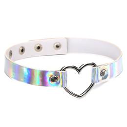 $enCountryForm.capitalKeyWord Australia - PU Leather choker necklace gift for women Holographic Choker Heart Metal Laser Collar Chocker fashion jewelry