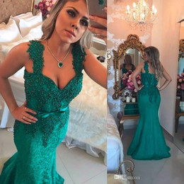 Barato Espaguete Verde-Dark Green Lace Pearls Evening Dresses 2017 Sexy Manga Mermaid Spaghetti Straps Backless Long Prom Vestidos Party Dresses Plus Size