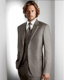 dark grey notch wedding suits Canada - Custom Made men suits Light Grey Groom suits Tuxedos Notch Lapel Best Man Groomsman Men Wedding Suits (Jacket+Pants+Vest)