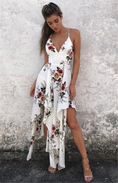 L Blanc Maxi Robe Pas Cher-Mode bohemian summer sexy deep v neck long maxi robe floral print occasionnel lisse sans manches élégante boho beach dress white women clothing