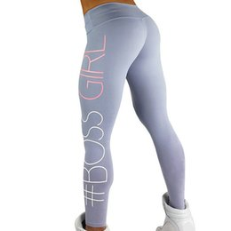 Leggings Aux Imprimés Gris Pas Cher-Printed BOSS GIRL Workout Push Up Leggings Pantalons Femmes Slim Cotton Fitness Legging Plus Size Legins Jeggings Black Grey