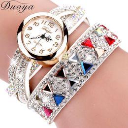 $enCountryForm.capitalKeyWord Canada - Duoya Brand Watches Women Luxury Rhinestone Popular Bracelet Wristwatch Women Lady Female Dress Cheap Electronic Quartz Watch