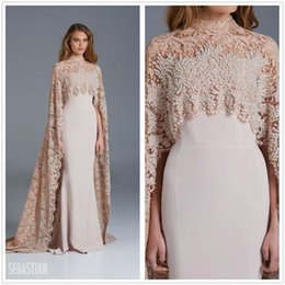 $enCountryForm.capitalKeyWord Canada - 2017 New Arabic Elegant High Neck Capped Lace Evening Dresses Satin Mermaid Beaded Stones Party Prom Dresses
