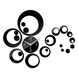 Discount lit mirror - Wholesale- 2016 New Diy Wall Clock Clocks Horloge Quartz Watch Living Room Circular Acrylic Mirror Stickers Reloj De Par