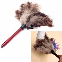 Fans book online shopping - 1pcs cm Ostrich Bird Feather Duster Car Dust Cleaner Brush With Wood Handle Anti static Cleaning Tool
