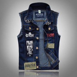 Barato Coletes De Rock Para Homem-Atacado- VXO Mens Denim JACKET Classic Vintage Men's Jeans Vest Manga sem mangas Fashion Patch Designs Punk Rock Style Ripped Cowboy