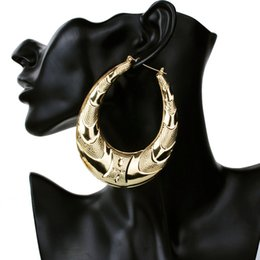 Vente en gros Gros-Or Grand Grand Cercle En Métal Bambou Hoop Boucles D'oreilles pour les Femmes Bijoux mode hip hop exagérer boucles d'oreilles vente chaude