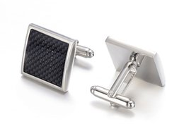 $enCountryForm.capitalKeyWord Australia - Rhodium Plated Carbon Fiber Cufflinks Men's Tuxedo Shirt Cuff Links