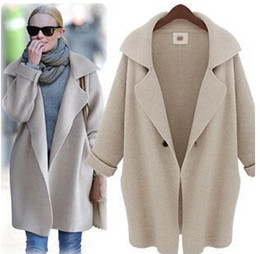 $enCountryForm.capitalKeyWord Canada - Wholesale- 2014 Women's fashion knitting cardigan solid color loose big size women's causal winter coat long Thick jacket