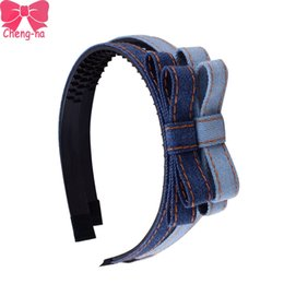 Discount denim hair accessories - 4pcs  Lot Denim Fabric Hairband For Girls Fashion Bowknot Headbands Handmade Denim Hair Accessories For Women Girl