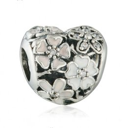 $enCountryForm.capitalKeyWord UK - Poetic Blooms Charms Bead Authentic 925 Sterling Silver Enamel Flower Heart Beads For Jewelry Making DIY Charm Bracelets Accessories HB614