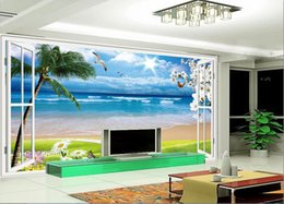 scenery paintings nature Canada - 3d room wallpaper custom photo mural Nature outside the seaside scenery background painting picture 3d wall murals wallpaper for walls 3 d