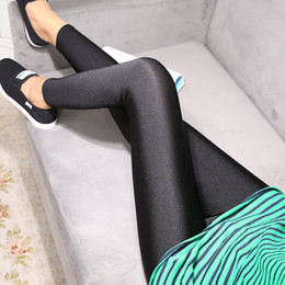 Leggings Élastiques Brillant Noir Pas Cher-Vente en gros- New Fashion Lady Sexy Elastic Breath Shiny Solid Black Leggings Skinny Pants Femme Pantalons S-XXL