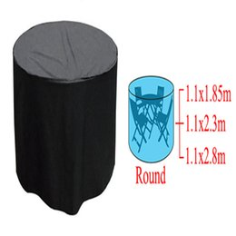 Garden Tables Chairs UK - Wholesale- High quality and durable Woven Polyethylene Round Outdoor Furniture Cover Garden Patio Table Chair Waterproof
