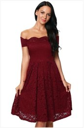 Scalloped Knee Length Dress UK - Plus Size Scalloped Off Shoulder Flared Lace Dress available in varied colors is perfect for evening events