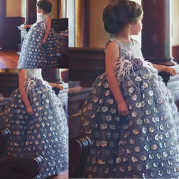 unique dresses for graduation UK - Unique Design Gray Ball Gown Flower Girl Dresses With 3D Appliques Pearls Beaded Girla Pageant Gowns For Wedding Babay First Communion Dress