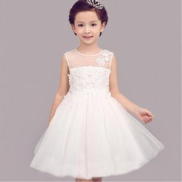 Barato Vestido Sem Manga Branco De Organza Bordada Branca-CHENLVXIE New White Lace Girls Dress Up Dressant bordado sem mangas Flower Girls Dress Dress Dress Dress Up