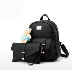 Composite Bearings UK - 2017 Hot sale composite bag backpacks women zipper hasp school backpack cute bear doll rucksack bags 2 pieces set