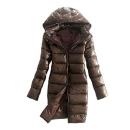 Cheap Organic Canada - 2017 Slim Ladies White Duck Down Women's Jackets With Big Hooded Winter Goose Cheap price Warm Ladies Women Down Coat Long 2017 Solid Brown