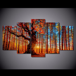 autumn painting framed art 2020 - 5 Pcs Set Framed HD Printed Forest Sky Tree Autumn Foliage Picture Wall Art Canvas Print Decor Poster Canvas Modern Oil