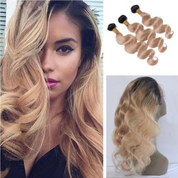 $enCountryForm.capitalKeyWord NZ - Hot Selling Two Tone 1B 27 Honey Blonde Ombre Brazilian Body Wave Virgin Human Hair Bundles With 360 Full Lace Band Frontal Closure