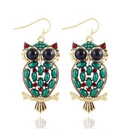 Animal Handmade Canada - New Handmade Popular Summer Bohemia Style Nation Beads Resin Owl Animal Dangle Earrings for Women Girls