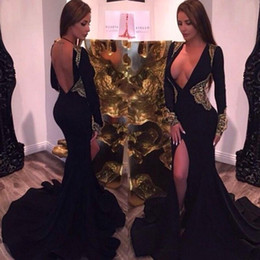 S'habille Pas Cher-Sexy Design Deep V Neck Manches Longues Mermaid Prom Robes Long Noir Satin Avec Appliques D'Or Open Back Evening Gowns