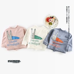 Barato Vestuário Menina Colarinho Azul-Cartoon Snail Children Clothing T-shirt Tops Cardigan Round Collar Algodão Kids Girl Shirts Cardigans Pink White Blue 5pcs / lot A7339