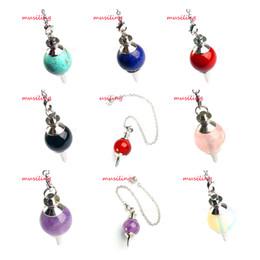 Reiki Healing Wholesalers Australia - Reiki Hypnosis Pendulum Chain Jewelry Dowsing Healing Chakra Pendant Natural Stone Ball Bead Charm Pagan Wicca Accessories Mix Order