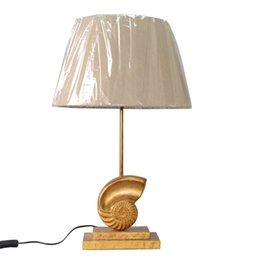 China Golden Conch Base Cloth Table Lamp Modern Table Lights individual national standards, For Study Room Living Room Bedroom Hotel suppliers