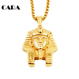 $enCountryForm.capitalKeyWord Canada - CARA NEW Men's Egyptian Pharaoh Pendant Necklace choker HipHop Necklace 316 Stainless Steel Ankn Ancient Egypt King Necklace CAGF0040