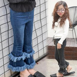 Barato Coreano Meninas Moda Primavera Casual-Baby Girls Denim Tassel Pants Kids Girls Wash Blue Flare Pants Babies Spring Casual Fashion Jeans roupa infantil coreana