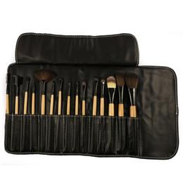 $enCountryForm.capitalKeyWord Australia - Black 15 Pcs Soft Synthetic Hair Make Up Tools Kit Cosmetic Brush Makeup Brushes Sets with Leather Case Wood