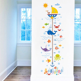 Height Measure Wall Sticker UK - Hot wholesale New Underwater World Kids Growth Chart Height Measure For Home Kids Rooms DIY Decoration Wall Stickers