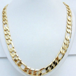 24k indian gold necklaces chain Canada - Men Necklace 24K Yellow Gold Filled Figaro Chain Hip Hop Jewelry