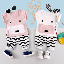 Cute Summer Cloths Canada - 2017 Summer Boys and girls pig cloth two sets of baby sleeve with cute pig Korean version of the children's clothing