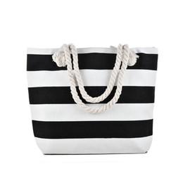 3f7ddd1113911 Rouge noir blanc rayures sac de plage type léger toile fermeture éclair femme  sac à main dames voyage mer sac fourre-tout décontracté sacs à bandoulière  ...