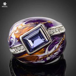 $enCountryForm.capitalKeyWord Canada - Wholesale MOZEL Swarovski Elements Royal Design Platinum Plated Stellux Austrian Crystal Multicolour Oil Painting Pattern Ring TR0092