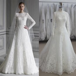 monique lhuillier full lace wedding dresses real images long sleeves plus size ruching wedding gowns bridal dresses