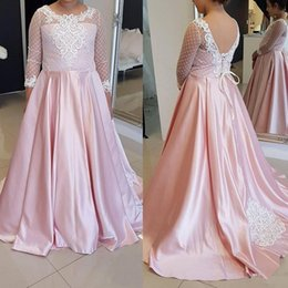 Soir, Robe Rose, Lacet Pas Cher-Beautiful Pink A-Line Robes de bal Lace-Up 3/4 Long Sleeves Party Graduation Gowns Vestidos de festa Lace Robe de soirée Applique perlées