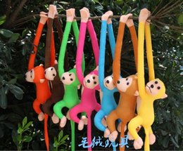 Discount toy monkey long arms - Wholesale- 70cm long arm monkey from arm to tail plush toy colorful monkey curtains monkey stuffed animal doll for kids