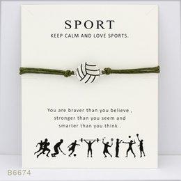 Wunsch Armband mit Geschenk-Karte Volleyball Sport Charme Armbänder Armreifen Geschenke für Frauen Mädchen einstellbare Freundschaft Erklärung Schmuck im Angebot
